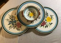 "Stangl COUNTRY GARDEN - 3 MINT 10"" Dinner Plates & 1 Lugged 2-Handled Soup Bowl"