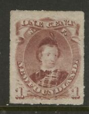 NEWFOUNDLAND 37 1877 1c BROWN LILAC ROULETTE PRINCE OF WALES MNH XF CV$800