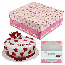 "Large Cake Box 10"" Round Board Baking Decoration Accessory Pink Cupcake Design"