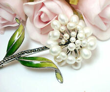 Vintage Fine Jewelry Sterling Silver Cultured Pearl Marcasite Brooch Pin