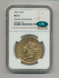 1876 NGC MS61 ~ $20 Liberty Head Double Eagle Gold U.S. Coin, Granite Lady Hoard