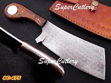 Custom Handmade Damascus steel Cleaver Rose Wood Handle