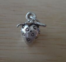 Sterling Silver 3D 14x13mm Solid 3.5gram Strawberry Charm