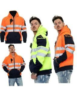 Mens Hi Visibility Hoody Jacket Pockets Safety Work Motorway Builders