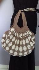 Magnifique Sac fourre-tout 100 % coton fait main au crochet Blanc et taupe