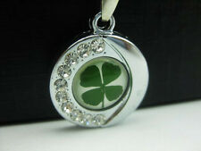 Green Real Four-Leaf Clover Round Pendant Necklace Good Lucky Jewelry