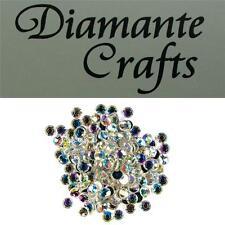 6mm Clear Iridescent Diamante Round Loose Flat Back Rhinestone Body Gems