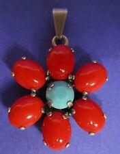 SoHo® Anhänger Daisy oval 10/8 bohemia glas red vintage böhmisches Glas türkis