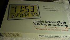"New Rare Jumbo 14"" Screen Digital Alarm Date &Temperature Clock ºC  or ºF Silver"