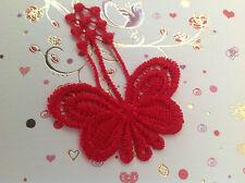 Apliques De Mariposa Encaje Cose En Rojo 4.7 cmx6cm Ropa Craft Pack 2 Post Gratis Reino Unido