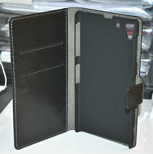 For Sony Xperia Z1 L39 Black Split Leather Flip Wallet Case Cover Stand LTE 4G
