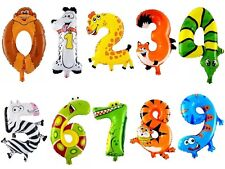 "16"" Zooloons Cartoon Animal Image Number Foil Balloons Happy Birthday Childen Us"