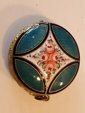 New listing Vintage Guilloche Enamel Blue/Pink/White Floral Flowers Compact