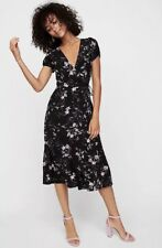 Express Black Floral Wrap Midi Dress Romantic Floral Size 8 Modest Black