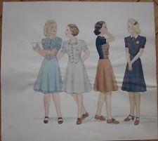 Original Art/Hand-Painted Fashion/Clothing Painting: 1939-1940 - 6