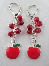 Dangling Silver Plated Red/Green Enamel Red Glass Bead Apple Earrings