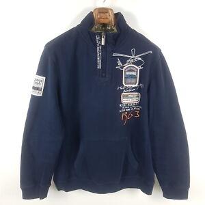 Camp David Sweatshirt Herren XL Blau Bestickt Heli-Skiing Pullover