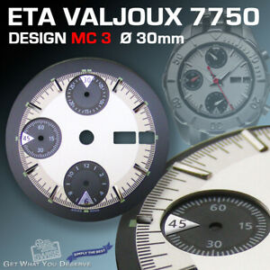 DIAL FOR MOVEMENT ETA VALJOUX 7750, MC 3, 3-D, SILVER-BLACK, SUPER LUM. Ø 30 mm