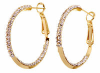 Swarovski Element Crystal Baha Hoop Pierced Earrings Gold Plated Authentic 7212z