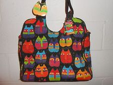 Laurel Burch Colorful Cat Canvas Tote Bag Purse Pocketbook Shoulder Bag Handbag
