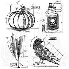 """Tim Holtz Cling Stamps 7""""X8.5"""" - Halloween Blueprint #2"""