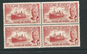 FALKLAND ISLANDS KGVI 1952 - Sg173 BLOCK OF 4 U/MINT 1d