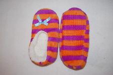Girls Fuzzy Babba Slippers Sherpa Lined Orange Purple Stripe Shoe Size 13-4