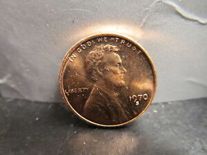 1970-S LD  Large Date Low 7 Lincoln Memorial Small Cent Mint State BU Red Penny