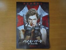 Resident Evil: The Final Chapter  MOVIE FLYER Mini Poster Chirashi Japan 28-7-1