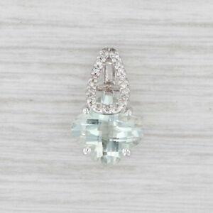 New Green Amethyst Diamond Flower Drop Pendant 14k White Gold Prasiolite
