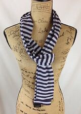 The Limited - PURPLE 2-tone striped Merino-blend NARROW long scarf