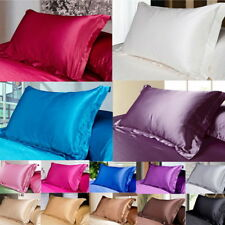 2x Silk Pillow case Satin Duvet Cover Silky Fitted Sheet Pillow Cases Cushion UK