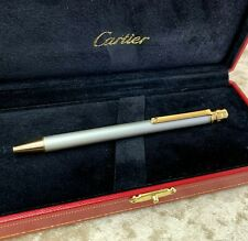 Authentic Santos de Cartier Ballpoint Pen Silver 18k Gold Plated with Case (New)