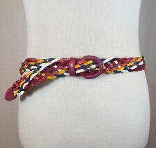 Vintage Multicolored Rainbow Basket Weave Leather Belt Size Xl Herringbone Retro