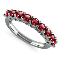 Natural Eternity Band 0.98 Ct Ruby Gemstone Rings 14kt White Gold Ring Size O M