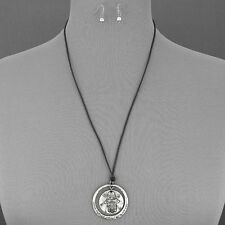 Message Pendant Necklace With Earrings Antique Silver Black Leather Hamsa Hand