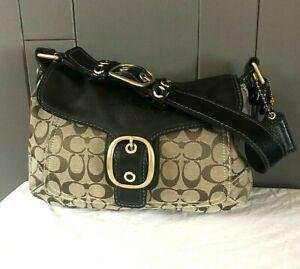 COACH  Bleeker 11772 Handbag Bag Purse Signature Black Leather and Jacquard