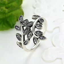 Genuine S925 Solid Sterling Silver CZ Crystal Entwined Leaves Ring Sizes 6,7,8,9
