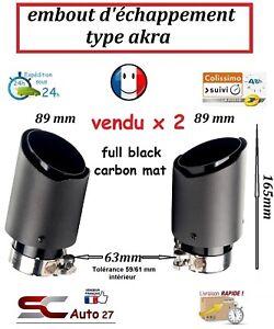 Embout d'échappement universel type akra full black entrée 63-89 mm sortie x2