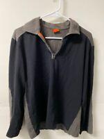 Boss Hugo Boss Mens Pullover Jacket Blue Gray 1/4 Zip Collared Long Sleeves M