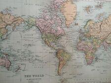C1898 WORLD on MERCATOR'S PROJECTION Large Original Antique Map