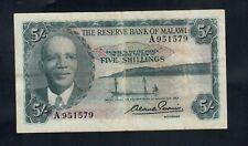 MALAWI  5 SHILLINGS L. 1964  A  PICK # 1  FINE+.