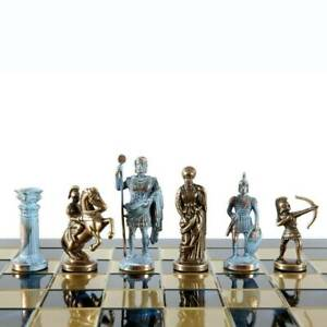 Manopoulos Archers Large Chess Set - Blue Copper Pawns - Blue chess Board