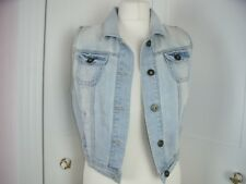 size 12 New Look Yes Yes boho retro cropped denim faded distressed waistcoat vgc