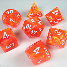 Chessex Dice Poly - Vortex Solar Orange w/ White- Set of 7 - 27423 Free Bag DnD