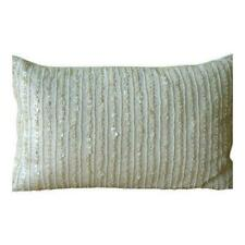 "Ivory Lined Mother Of Pearls 20""x36"" Silk King Pillow Sham - Pearl Harbour"