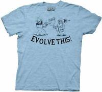 Paul Movie Evolve This! Jesus Shooting Darwin Light Blue Adult T-shirt