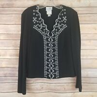 Joseph Ribkoff Womens Size 10 Top Vintage Lace Up Front Embroidered Long Sleeve