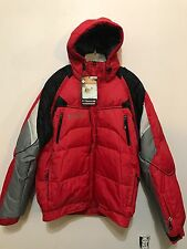Columbia Mens Jacket Coat Titanium Omni Tech Ski Winter Red Puffer Hood Sz XXL