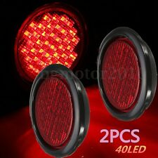 2x 4'' Round Truck Trailer Rubber Mount Stop Turn Tail Backup light LED Red 12V